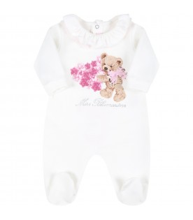 White babygrow for baby girl with bear