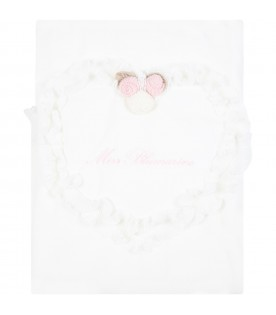 White blanket for baby girl with flowers