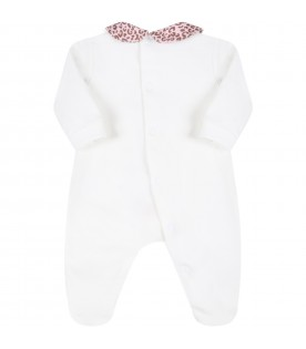 White babygrow for baby girl with animalier bow