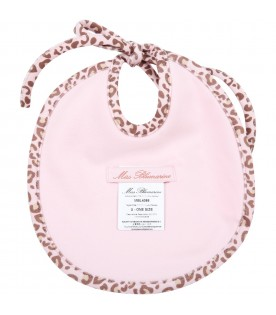 Pink bib for baby girl with logo