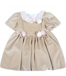 Beige dress for baby girl with flowers