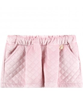 Pink short for baby girl with logo