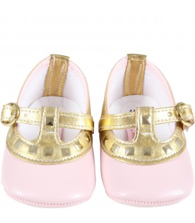 Multicolor ballerina flats for baby girl with studs