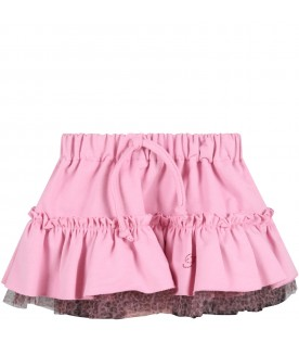 Pink skirt for baby girl with logo