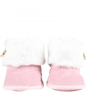 Pink boots for baby girl with logo