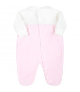 Multicolor babygrow for baby girl with pink logo