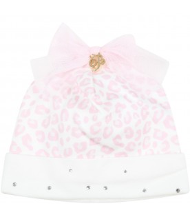 White hat for baby girl with logo
