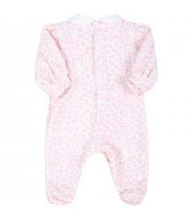 Multicolor babygrow for baby girl with animalier print
