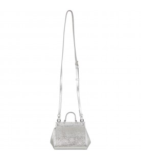 Silver bag for girl with logo