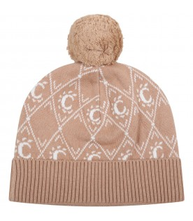 Beige hat for girl with iconic C