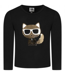 Black t-shirt for girl with Choupette