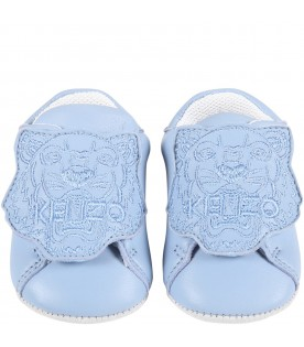 Light blue shoes for baby boy with tiger