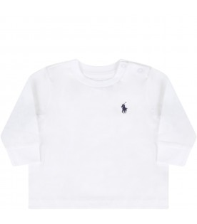 White t-shirt for baby kids with pony logo