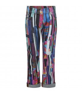 Multicolor jeans for girl with logo