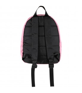 Pink backpack for girl with logo