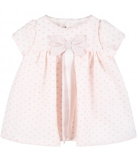Pink dress for baby girl with polka-dots