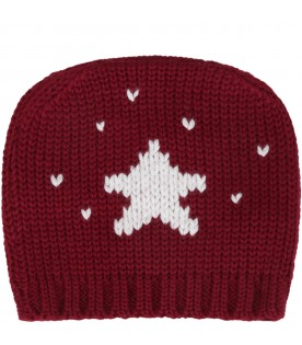 Bordeaux hat for baby kids with star