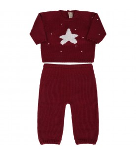 Bordeaux suit for baby kids with star