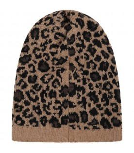 Brown hat for kids with animalier details