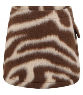 Brown skirt for girl with beige details