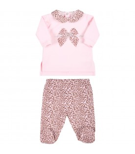 Pink set for baby girl with animalier print
