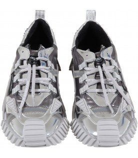 Silver sneakers for kids with black logo