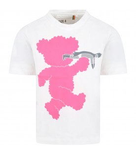 White T-shirt for kids with neon pink bear