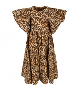 Beige dress for girl with animal print