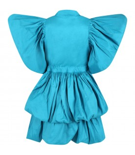 Light-blue dress for girl with ruffle