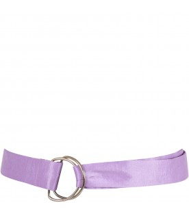Lilac belt for girl with bow