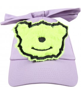Lilac hat for girl with bow