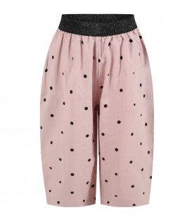 """Pink """"Dina"""" trousers for girl with black polka dots"""