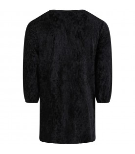 """Black """"Camilla"""" dress for girl with lurex details"""