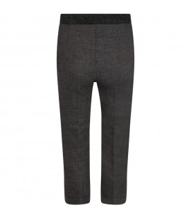 """Gray """"Dea"""" trousers for girl with lurex details"""