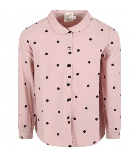 """Pink """"Ele"""" shirt for girl with black polka dots"""