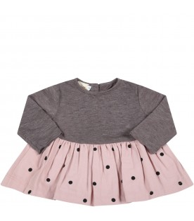 """Multicolor """"Cleo-Baby"""" dress for baby girl with black polka dots"""