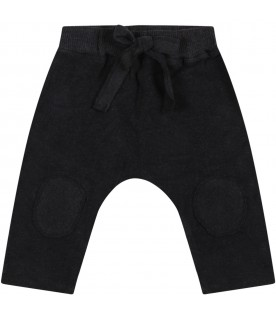 """Black """"Dafne"""" trousers for baby girl with bow"""