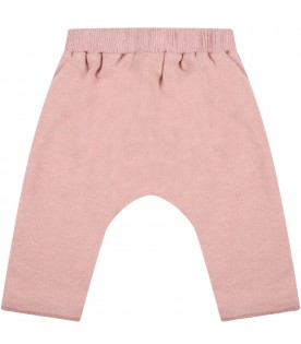 """Pink """"Dafne"""" trousers for baby girl with bow"""