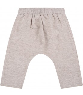 """Beige """"Dafne"""" trousers for baby girl with bow"""
