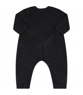 """Black """"Delia-Baby"""" babygrow for baby girl with patch"""