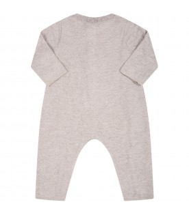 """Beige """"Delia-Baby"""" babygrow for baby girl with patch"""
