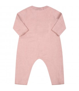 """Pink """"Delia-Baby"""" babygrow for baby girl with patch"""