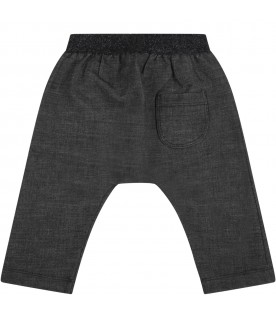 """Gray """"Demi-Baby"""" trousers for baby girl with lurex details"""