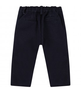 Blue trousers for baby boy with blue logo