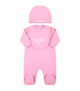 Pink set fo baby girl with white logo