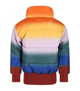 Multicolor jacket for kids with patch logo