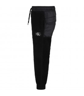 Black sweatpants for kids with white logo