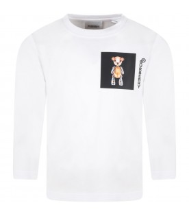White T-shirt for kids with Thomas Bear and black logo