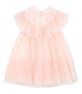 Pink dress for baby girl with embroidered logo