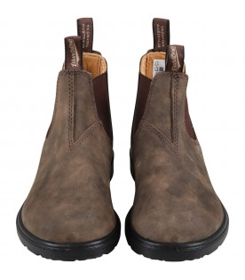 Brown boots for boy with logo